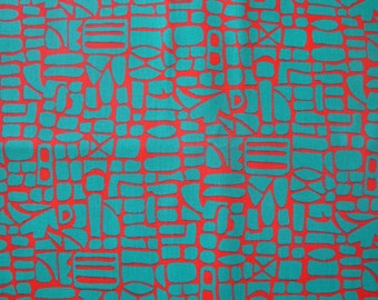 Vintage Abstract Graphic Red & Turquoise Fabric