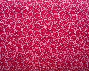 Salute to Summer White Circles on Red cotton quilting fabric for Quilting Treasures