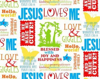 Jesus Loves Me Multi Words premium cotton fabric by Sharyn Sowell Collection for Henry Glass