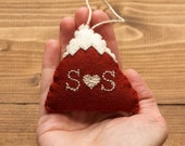 Personalized Snowy Mountain Felt Christmas Ornament in Cranberry Red, for Him, for Her, Winter, Anniversary, Couples Gift, Rustic
