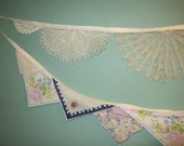 Vintage Hankie and Doily Bunting Combo  Wedding  Nursery  Shower