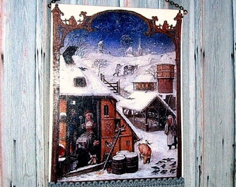 A Winter Scene Tapestry, Medieval Dollhouse Miniature 1/12 Scale, Hand Made