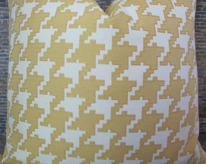 Designer Pillow Cover - Lumbar, 16 x 16, 18 x 18, 20 x 20, 22 x 22 - Houndstooth Jacquard Canary Yellow