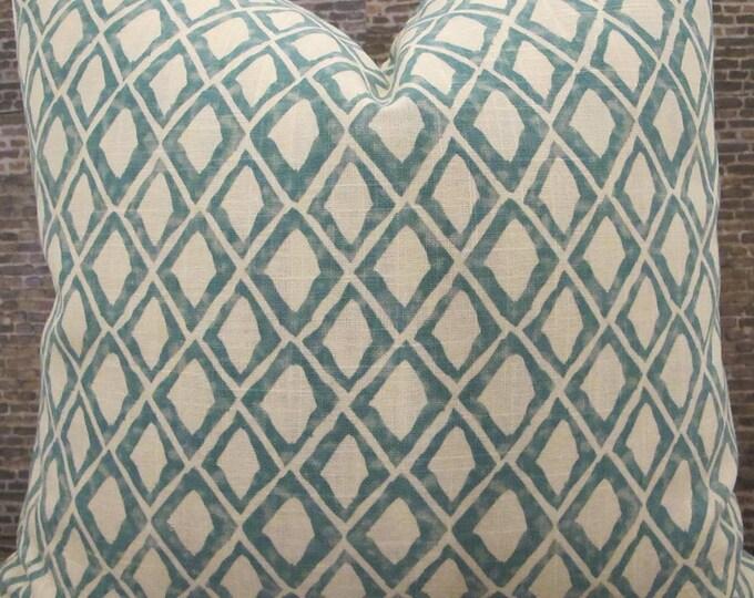 Designer Pillow Cover -Lumabr, 16 x 16, 18 x 18, 20 x 20, 22 x 22 - Nate Berkus El Toro Aquamarine