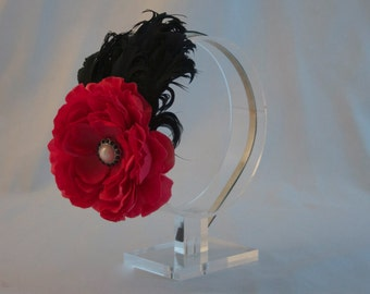 Headband with Feather Flower Headband Adult Fascinator Headband