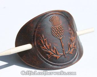 Scottish Thistle Leather Barrette