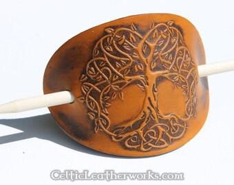 Tree of Life Leather Barrette