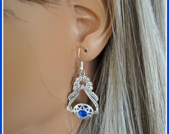 Boho Earings Bohemian Earings Earings Gift for Women Womens Gift Jewelry Weddings Boho Wedding Beach Filigree Earings Gypsy Earing R.Blue N1
