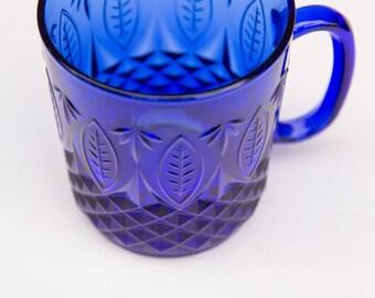 Vintage Blue Glass Mug, Vintage Blue Glass Coffee Mug, Cristal D'arques Coffee Mug, French Avon Royal Sapphire Glass Coffee Mug