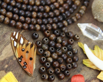 Peppercorn : Brown Stained Round Bone Spacer Beads, 6mm, Natural Yoga Mala Jewelry Making Supplies, Beads for Bracelet, Fall DIY, 45 pcs