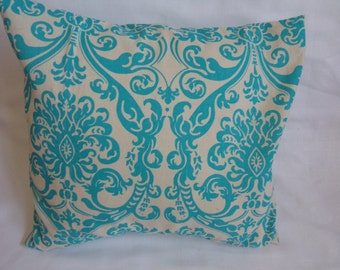 """Turquoise and Cream Abstract 16 x16"""" Pillow Cover"""