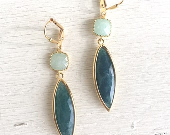 Dangle Earrings Gift for Her.  Drop Earrings. Teal Green and Mint Jade Earrings. Cool Colors. Gift. Holiday Jewelry. Wedding Jewelry. Gift.