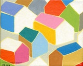 "Town: original abstract geometric colorful houses painting on stretched canvas 4""x5"""