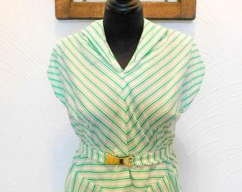 1960s Striped Dress Vintage 60s Green & White Full Skirt Dress - L