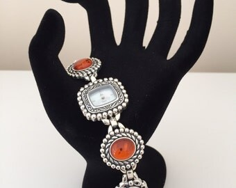 Aria Sterling Silver Amber Watch