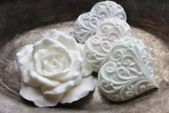 ROSE & HEART SOAPS, Shades of White, Light Blue, and Light Gray, Valentine's Day, Pearl White Rose and Pastel Hearts, Custom Scented