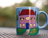 """Jane Austen """"There is nothing like staying at home for real comfort"""" Medium, cornflower blue mug with hand painted house - Emma"""