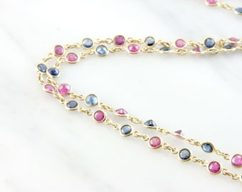 Vintage 14K Yellow Gold Genuine Ruby and Sapphire 30 Inch Necklace