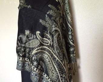 Black Pashmina Shawl Vest