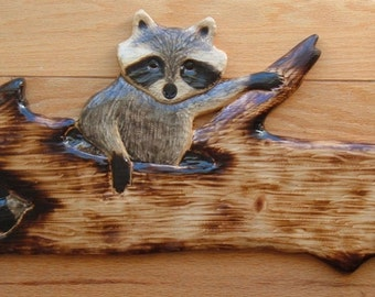 RACCOON CUB n a log Wall Art Chainsaw Log Cabin Decor Wood Carving Sculpture