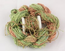 Forest Green Brown Beaded Embroidery thread with seed beads sequins hand dyed fibre art ribbon weaving quilting embellishment bead yarn