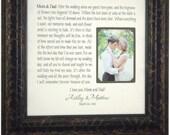Wedding Thank You Sign Frame, Mom Dad Mother of the Bride, Custom Wedding Gift, Bridal Shower, mr mrs love wedding cake topper, 16 X 16
