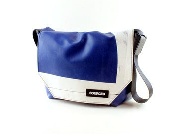 Messenger Bag made from Upcycled Truck Tarp, Laptop Bag, Courier Bag, Eco Friendly and Handmade (K12)