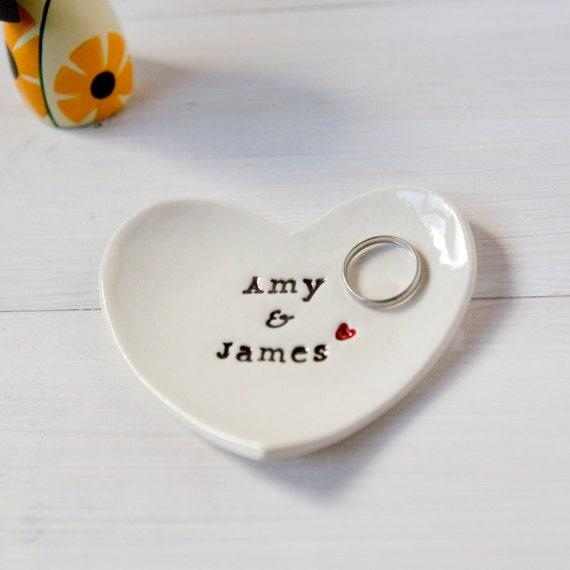 Personalised Wedding Gift Ring Dish custom porcelain heart wedding ring bearer bowl