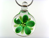 Blown Glass Green Flower Pendant, Your Choice of Black Satin Cord, Cotton Cord or Sterling Chain