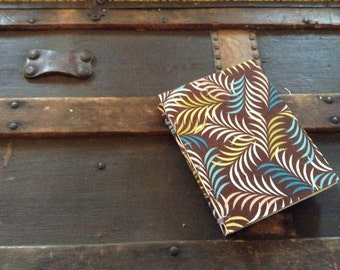 SALE - Handbound Coptic Stitch Journal with Decorative Leaf-Patterened Cover