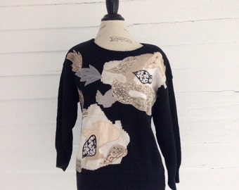 Vintage Black JEWELED 80s Sweater ie Serious Bling