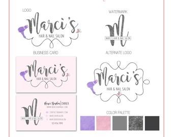 Premade Business Logo Branding Design - Salon - Hairdryer and Nail Polish - Boutique - Customizable - Predesigned - Option to retire design