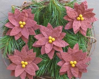 Primitive Poinsettia Bowl Fillers - Ready 2 Ship - Set of 5 - Poinsettia Christmas Flowers - Maroon Grungy Batting - Primitive Holiday Decor