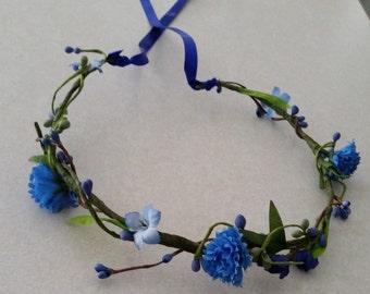 Blue Wedding Flower crown accessories Bridal hair wreath green berry garland Boho headpiece halo country bride Daisy Electric EDC festival