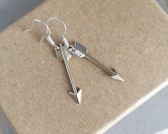Silver Arrow Earrings, Arrow Drop Earrings, Adventure Jewellery, Teenage Gift