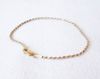 """Italy Sterling Silver with Gold overlay 7"""" Rope Bracelet"""