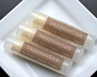 ON SALE CAPPUCCINO  Organic Lip Balm, Vegan Lip Balm .15oz