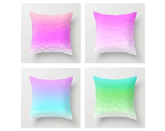 Neon Polygons Throw Pillow Cover