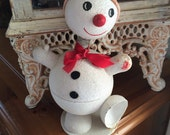 Vintage German Noddler Snowman Paper Candy Container What A Cutie