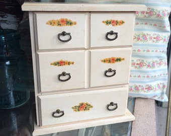 We All Need Cute Storage Vintage Wooden Drawer Box With Flowers