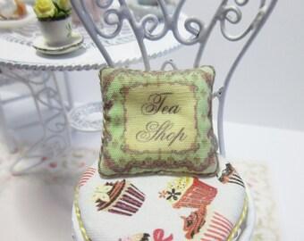 Dollshouse Miniatures. Cushion Pillow. 'Tea Shop' Design