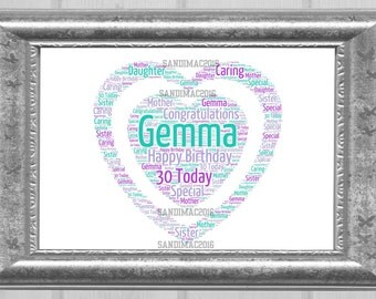 Personalised Double Heart Word Art Print