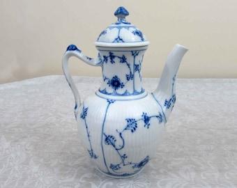 Royal Copenhagen Blue Fluted Plain Mini Coffee Pot - 1960s