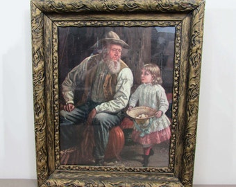 "Victorian Wood & Gesso Ornate Picture Frame w/glass - 26"" x 22"" - grandfather print"