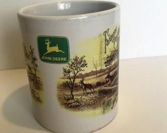 Vintage John Deere Coffee Mug, Deer, Forest, Farmers Pocket Companion 26th Annual Edition, Kansas City, MO