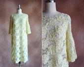 vintage 1960's pale yellow sheer soutache floral lace shift dress / size s