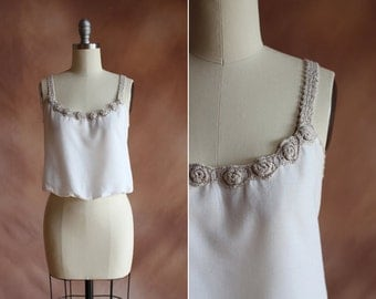 vintage 1970's white cotton linen cropped tank blouse with crochet trim / size s
