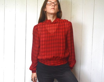 Checker Print Blouse Early 90s Does 50s Vintage Sheer Red Black Cropped Top Twin Peaks Audrey Horne Style Small Medium