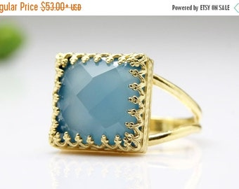 25% OFF SALE - gold ring,chalcedony ring,blue ring,square gemstone ring,custom rings,bridal ring,vintage ring,prong ring