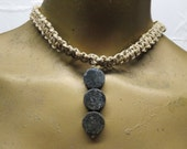 SALE Labradorite blue and grey gemstone beaded choker necklace made with hemp. Long ties in back. HCK-807